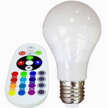 LED Λαμπτήρας E27 6W (A60) RGB με Τηλεχειριστήριο και Ψυχρό Λευκό 6400Κ(7151)