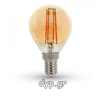 Λάμπα LED 4W Ε14 Filament P45 Amber Cover Θερμό 2200K(4499)