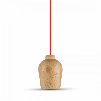 Κρεμαστό Φωτιστικό Ξύλινο V-TAC με Κόκκινο Καλώδιο και ντουί Ε27(3723)