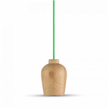 Κρεμαστό Φωτιστικό Ξύλινο V-TAC με Πράσινο Καλώδιο και ντουί Ε27(3725)