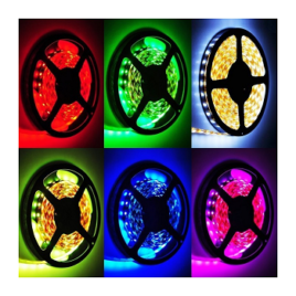 LED Ταινία 4,8W (7.2W) 30 smd 5050 Led/m RGB Βάση Λευκή(2124)