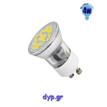 LED Spot GU10 Mini 230V (MR11) Φ35 4watt Θερμό Λευκό(90602)