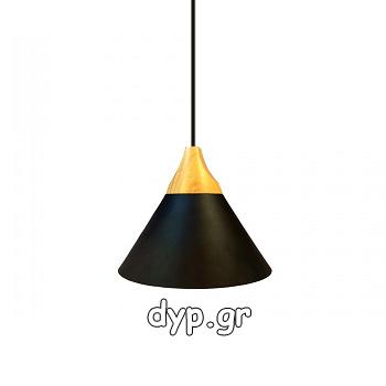 Κρεμαστό Φωτιστικό V-TAC Καπέλο Κώνος Αλουμίνιο Μαύρο με Ξύλινη Βάση και ντουί Ε27 Ф260(3757)