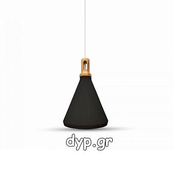Κρεμαστό Φωτιστικό V-TAC Μεταλλικό Καπέλο Κώνος Μαύρο με Ξύλινη Βάση και ντουί Ε27 Ф250(3762)