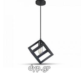 Κρεμαστό Φωτιστικό Μεταλλικό V-TAC Σχήμα Κύβου Μαύρο Ματ και ντουί Ε27(3834)