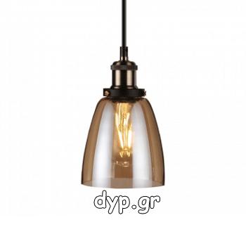 Κρεμαστό Φωτιστικό Vintage V-TAC Amber Γυαλί και ντουί Ε27 Ф140(3736)