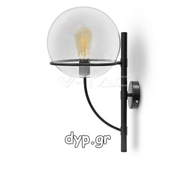 Απλίκα Φωτιστικό Τοίχου Γυάλινος Γλόμπος Διάφανος Ф210mm με Ντουί Ε27(3864)
