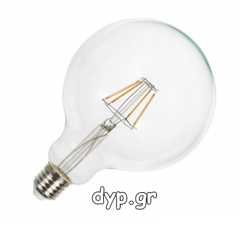 LED Λάμπα Ε27 4W (G125) Σφαιρική Filament Retro Look Edison Dimmable(4399)