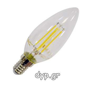 LED V-TAC Λαμπα Filament E14 4watt κερακι Φως Ημέρας(4413)