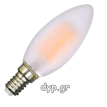LED V-TAC Λάμπα Filament E14 Κεράκι 4watt Frost Cover Φώς Ημέρας 4000Κ(4475)