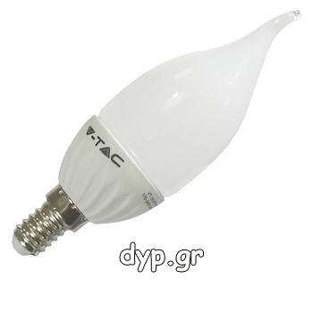 LED V-TAC Λαμπα E14 4watt κερακι σχήμα φλόγας Θερμό Λευκό(4164)