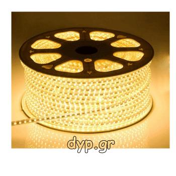 LED Ταινία 230V 9W/m 60L/m 5050 Αδιάβροχη IP65 Dimmable Θερμό Λευκό(5050-60 /3-A)
