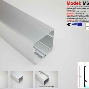 Προφίλ Αλουμινίου δίμετρο για ταινίες LED(M64)
