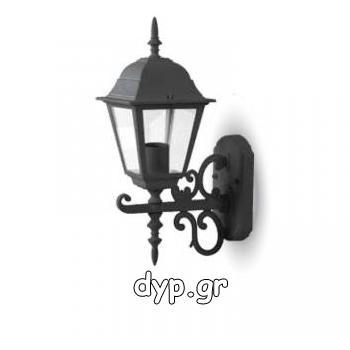 Επιτοίχια Απλίκα Φαναράκι μικρό Μαύρο Ματ με ντουί Ε27 IP44(7519)