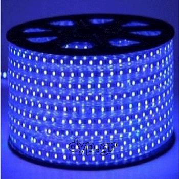 LED Ταινία 230V 9W/m 60L/m 5050 Αδιάβροχη IP65 Dimmable Μπλε(5050-60 /C-A)