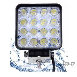 LED τετράγωνος προβολέας εργασίας αδιάβροχος διασποράς IP67 16 SMD 48W 10~30V(D1690)