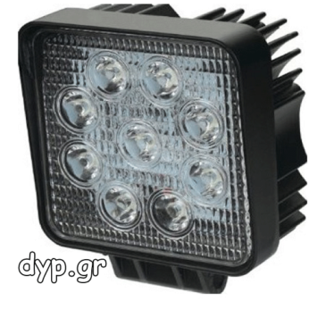 LED τετράγωνος προβολέας αυτοκινήτου αδιάβροχος διασποράς 9 SMD 27W 10~30V(D1963)