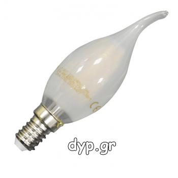 LED Λάμπα Filament E14 Κεράκι 4watt Frost Cover Σχήμα Φλόγας Ψυχρό Λευκό(4479)