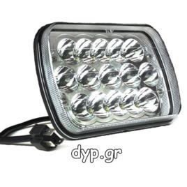 LED προβολέας αυτοκινήτου αδιάβροχος κατευθυντικός 15 SMD 45W 10~30V 6000K(D2376)