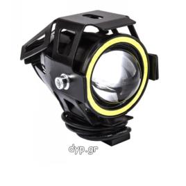 Προβολέας μοτοσυκλέτας αδιάβροχος  Cree LED U7 Angel Eye με λευκό φως, στεφάνη μαύρου χρώματος(D1672)