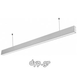 LED Κρεμαστό Γραμμικό Φωτιστικό 40W SAMSUNG Chip Ασημί Φως Ημέρας(375)