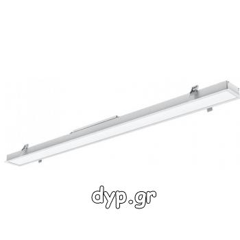 LED Γραμμικό Φωτιστικό Χωνευτό Λευκό  40W 120cm SAMSUNG Chip Φως Ημέρας(381)