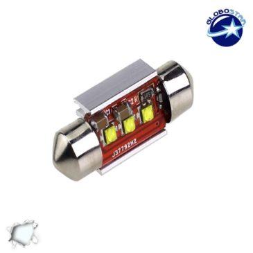Σωληνωτός LED 42mm Can Bus με 3 CREE LED Ψυχρό Λευκό GloboStar 40172