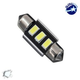 Σωληνωτός LED 31mm Can Bus με 3 SMD 5630 Ψυχρό Λευκό GloboStar 40152