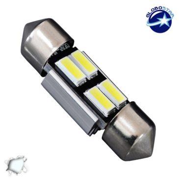 Σωληνωτός LED 31mm Can Bus με 4 SMD 5630 Ψυχρό Λευκό GloboStar 40153