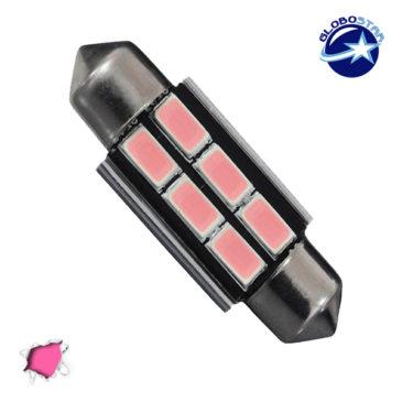 Σωληνωτός LED 39mm Can Bus με 6 SMD 5630 Φούξια GloboStar 40163