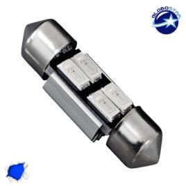 Σωληνωτός LED 31mm Can Bus με 4 SMD 5630 Μπλε GloboStar 40154