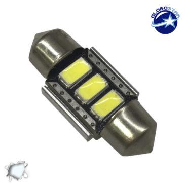Σωληνωτός LED 31mm Can Bus με 3 SMD 5630 Samsung Chip Ψυχρό Λευκό GloboStar 77386