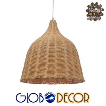 Vintage Κρεμαστό Φωτιστικό Οροφής Μονόφωτο Μπεζ Ξύλινο Ψάθινο Rattan Φ45 GloboStar NATH 01203