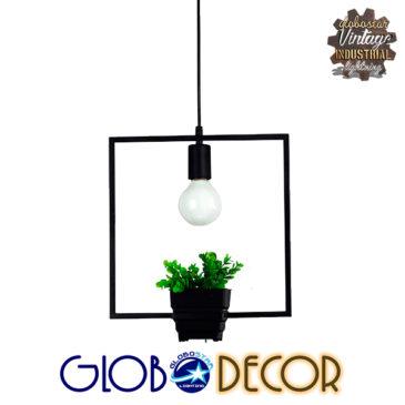 Μοντέρνο Κρεμαστό Φωτιστικό Οροφής Μονόφωτο Μαύρο Μεταλλικό Flowerpot Φ30 GloboStar LAMIUM 01211