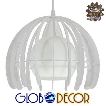 Μοντέρνο Κρεμαστό Φωτιστικό Οροφής Μονόφωτο Λευκό Μεταλλικό Πλέγμα με Λευκό Γυαλί Φ26 GloboStar STEPHEN 01225