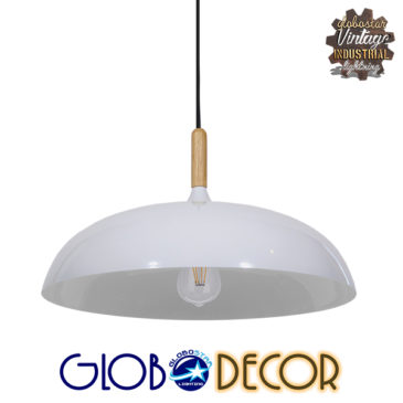 Μοντέρνο Κρεμαστό Φωτιστικό Οροφής Μονόφωτο Λευκό Μεταλλικό Καμπάνα Φ45 GloboStar VALLETE WHITE 01256