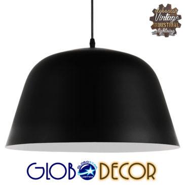 Μοντέρνο Κρεμαστό Φωτιστικό Οροφής Μονόφωτο Μαύρο Μεταλλικό Καμπάνα Φ40 GloboStar EASTVALE 01281