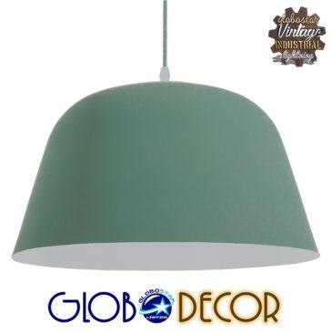 Μοντέρνο Κρεμαστό Φωτιστικό Οροφής Μονόφωτο Γκρι Πράσινο Μεταλλικό Καμπάνα Φ40 GloboStar UPVALE 01285