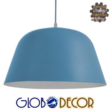 Μοντέρνο Κρεμαστό Φωτιστικό Οροφής Μονόφωτο Μπλε Μεταλλικό Καμπάνα Φ40 GloboStar DOWNVALE 01286