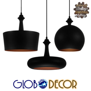 SET 3 Μοντέρνα Κρεμαστά Φωτιστικά Οροφής Μονόφωτα Μαύρα Μεταλλικά Καμπάνα GloboStar ROCKFORD 01287