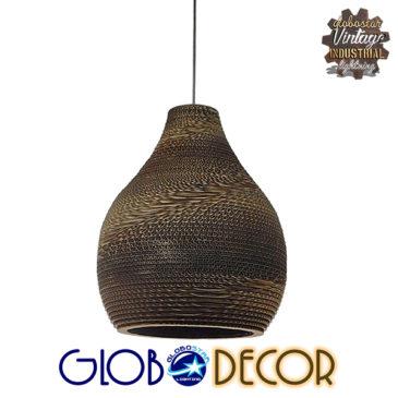 Vintage Κρεμαστό Φωτιστικό Οροφής Μονόφωτο 3D από Επεξεργασμένο Σκληρό Καφέ Χαρτόνι Καμπάνα Φ30 GloboStar MYKONOS 01292
