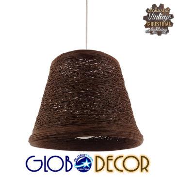 Vintage Κρεμαστό Φωτιστικό Οροφής Μονόφωτο Καφέ Σκούρο Ξύλινο Ψάθινο Rattan Φ30 GloboStar MADISON 01333