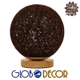 Μοντέρνο Επιτραπέζιο Φωτιστικό Πορτατίφ Μονόφωτο Καφέ Σκούρο Ξύλινο Ψάθινο Rattan Φ20 GloboStar WESTON 01337