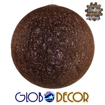 Vintage Κρεμαστό Φωτιστικό Οροφής Μονόφωτο Καφέ Ξύλινο Ψάθινο Rattan Φ60 GloboStar PETAL 01362