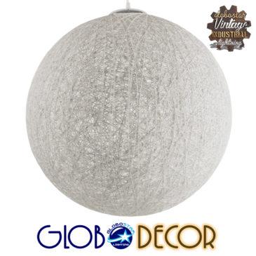 Vintage Κρεμαστό Φωτιστικό Οροφής Μονόφωτο Λευκό Ξύλινο Ψάθινο Rattan Φ60 GloboStar KETTLE 01363