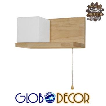 Μοντέρνο Φωτιστικό Τοίχου Απλίκα Ραφάκι Μονόφωτο Ξύλινο με Λευκό Ματ Γυαλί GloboStar AMITY LEFT 01365