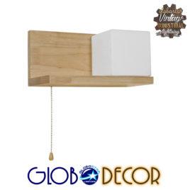 Μοντέρνο Φωτιστικό Τοίχου Απλίκα Ραφάκι Μονόφωτο Ξύλινο με Λευκό Ματ Γυαλί GloboStar AMITY RIGHT 01366