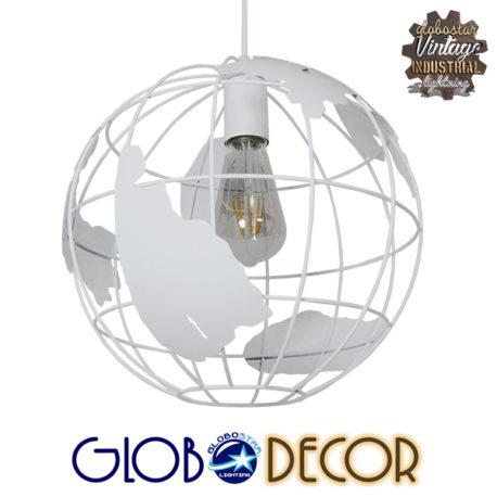 Vintage Industrial Κρεμαστό Φωτιστικό Οροφής Μονόφωτο Λευκό Μεταλλικό Πλέγμα Φ30 GloboStar EARTH WHITE 30CM 01382