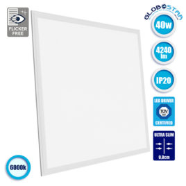 LED Panel Οροφής Ultra Slim 60x60cm Μοριακού Φωτισμού Milky 40W 230V 4240lm 180° Ψυχρό Λευκό 6000k GloboStar 01802