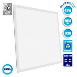 LED Panel Οροφής Ultra Slim 60x60cm Μοριακού Φωτισμού Milky 48W 230V 5040lm 180° Ψυχρό Λευκό 6000k GloboStar 01805